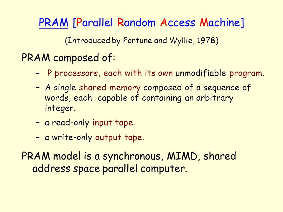 PRAM [Parallel Random Access Machine]